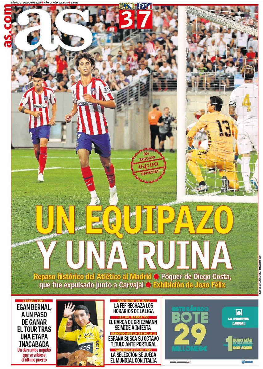 Newspaper Reaction Atleti 7-3 Real AS