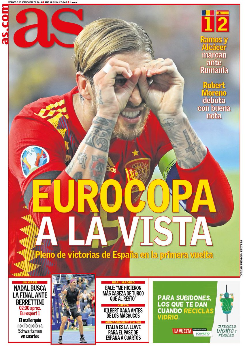AS Headline Romania 1-2 Spain Ramos Glasses